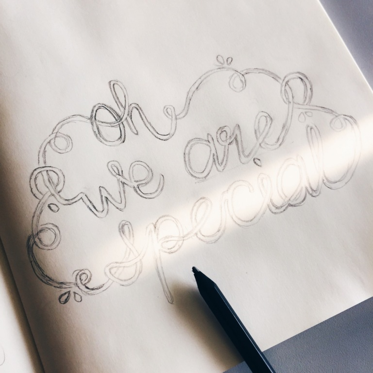 Oh we are special handlettering on moleskine cahier